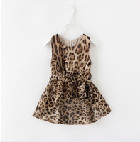 Girls Fashion Summer Leopard  Dress For New Sleeveless O-Neck With Sashes Style High Quality Cotton Children Clothing 5pcs/lot