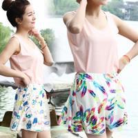 New Fashion Women Floral Print Chiffon Cute Casual Short Skirts Drop Shipping WF-8475\br