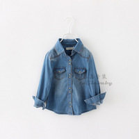Children Casual Solid Spring Denim Shirts Fashion Design With High Quality Turn-down Collar Full Sleeve Kids Clothing 6pcs/ LOT