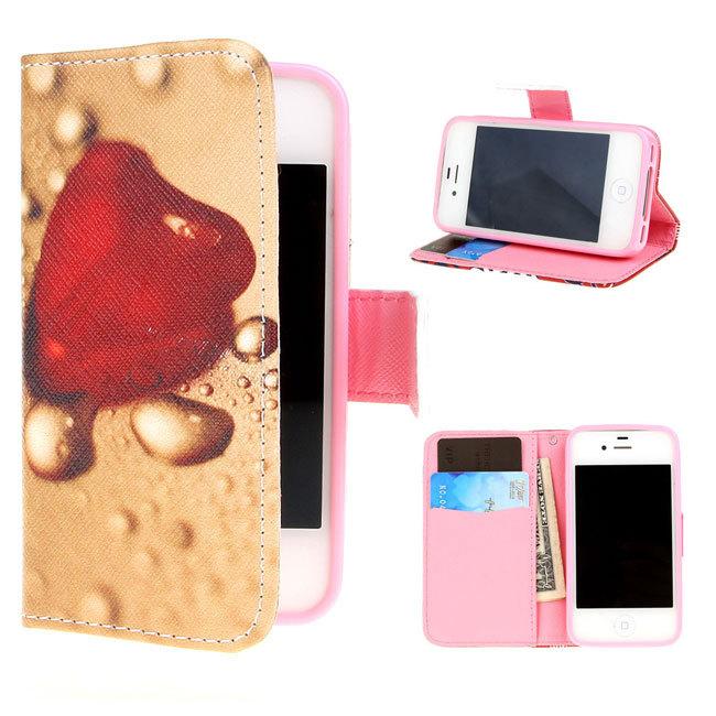 For Apple iPhone 4 4S Case Flip Wallet Leather Credit Card Slot Holder New Design Wallet Water Drop()