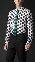 New hot top quality men full sleeve cotton turn-down collar polka dot design london fashion men dress shirt brand business shirt