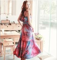 2014 Women Hot sale New  Free Shipping  Fashion Stylish Frills Design Braces Sleeveless Bohemian Maxi Dress