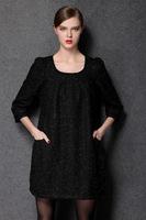 2015 plus size spring antumn women soild color three quarter roung neck casual dress work dress fashion women clothing L-4XL