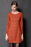 2015 brand Elegant fashion women high-grade woolen silm long sleeve casual dress work dress women clothing Autumn dress L-4XL