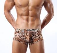 Sexy translucent panties breathable big low-waist boxer panties leopard print bag u male ultra-thin gauze
