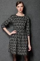 L-4XL brand higth quality antumn winter women silm flower printing three quarter sleeve O neck fashion casual dress work dress