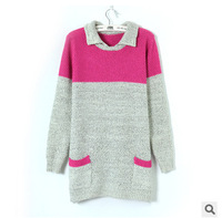 Classic spell color pocket false collar sweater thick cute wholesale sale