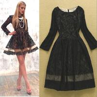 Fashion high quality women's 2014 crochet organza lace patchwork dress one-piece dress