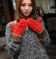 Free Shipping 2014 Women Twist Winter Knit Thick Warm Love Fur Fashion Girl Neck Wool Gloves Mittens