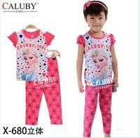 pajama clothes set fashion summer olaf cartoon solid cotton kids baby boys girls children pajamas clothing sets X-680