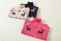 New 2015 Kid Deer High Collar Pullover Fashion Children Flower Knit Sweater Tops Cotton Girl Cartoon Outwear Tops 3904