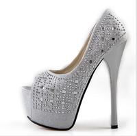 2014 new Fashion Women Pumps Red Bottom High Heels Sweet Princess Bow Shoes Fish Toe Party Wedding Platform Pumps EUR Size 34-40