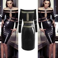 Sexy  Nightclub Dress 2014 New Trendy High Quality Women PU Leather Gauze Perspective Long Sleeve Evening Party Dress
