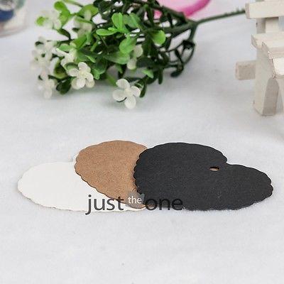 50x Sweet Heart Design Kraft Paper Wedding Bookmark Scallop Blank Luggage Tags(China (Mainland))