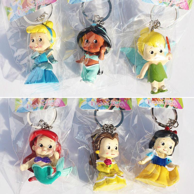 6pcs/set Princess Keychains Q Version Mermaid Tinkerbell Snow White Cinderella Bella Keychains Pendats Figure Toys Free Shipping(China (Mainland))