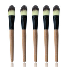 Top Sale! Wooden Handle Smooth Fiber Hair Makeup Wet Powder Foundation Brush Beauty Tool, Free & Drop Shipping