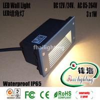 Free shipping wholesale gray panel 3X1W high power led buried light led wall light led corner light  IP65 Warranty 2 years