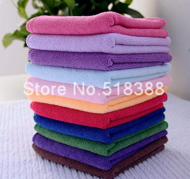 Free Shipping 10pcs/lot 25x25cm Microfiber Car Cleaning Towel Microfibre Detailing Polishing Scrubing Hand Towel Car Wash(China (Mainland))