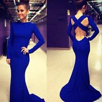 vestido de festa longo elegant women long evening dresses robe de soiree Blue Sleeved Floor-length Dress with Cutout Back LC6769