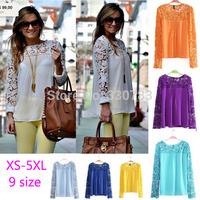 2015 cheap clothes china tropical women summer dress blusas  verao roupa chiffon blouse long sleeve roupas femininas XS-5XL