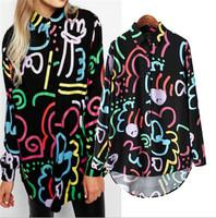 2015 Trendy Women Asymmetric Length Shirts Women Graffiti Print Blouses Casual Party  Shirts Spring Summer Tops