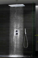 """Thermostatic Ceiling Mounted 8"""" Brass Shower Head Chrome Finish Shower Faucet"""