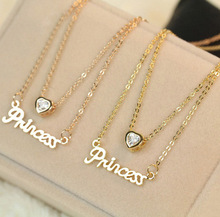 Women Party Dress Wedding Romantic Jewelry Exquisite Gold Plated Letter Princess Love Heart Zircon Pendant Double Layer Necklace(China (Mainland))