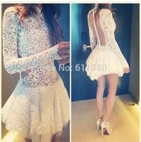 2014 New Vestidos women's sexy dress, white lace dress Party Skater Mini Dress