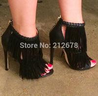 2015 Latest Design Tassel High Heel Pumps For Women Black/White braid Sandals Boots