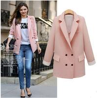 2014 Slim new winter long section of European leg hit color fashion casual windbreaker jacket women   xjh197