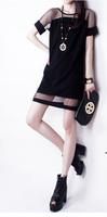Women Sexy Gauze Chiffon Casual Shirt Dress New 2015 Fashion Spring Summer Ladies Package Slim Mesh Dresses Vestidos femininos