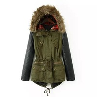 Brand New S-5XL 2014 Clothing Winter Women Parka Casual Army Green Contrast PU Leather Faux Fur Hooded Female Coat D18