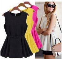 New fashion Women Chiffon Vest Top Tank Sleeveless Shirt Slim Vogue Blouse Shirt Chiffon Belt  LQ9023XGJ