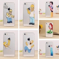 Ultra Thin Transparent Homer Case Simpson Cases Snow White Hard Cover for Iphone 5S 5 5C 4S 4 DHL