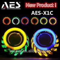 Hot Sale Auto headlight tuning X1c bixenon Hid projector len double angel eyes