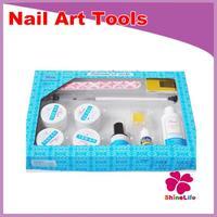 New Professional 12pcs/set White Pink Clear UV Gel Nail Art Pen Cleanser Plus UV Topcoat Forms Nail Art kits Glue Tools Set