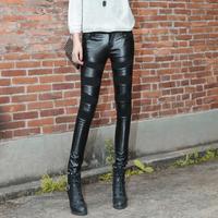 2014 fall/winter new style PU Leather Pants women's Slim Winter Pants Black slimming plus size Skinny Pencil Pant Leather Pants