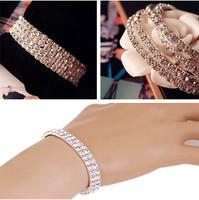 Hotsale 1/2/3 Rows Elastic Bracelet Bridal Wedding Crystal Bling Bracelet Chain Silver Color Fashion Jwelery