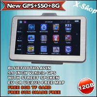 X-SHOP New GPS+S50+8G HD  GPS Navi,128MB RAM,BLUETOOTH,AV-IN,8GB MAP Russia/Belarus/Ukraine/Brazil map