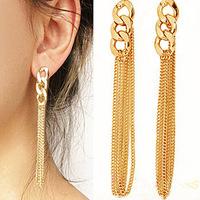 Cheap Retro Women Long Chunky Chain Earrings Fancy Dress Gold Tassel Chain Ear High Quality A05030