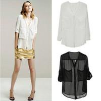 Chiffon blouse chiffon female big white shirt pocket chiffon shirt -L205