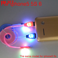 50pcs 1M 3ft New Visible colorful LED smile face Lighting USB data charger Cable 8pin to USB for iPhone 5 5s 5c 6 iPad mini