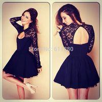 2014 new vestido casual vestidos, women cute lace dress,summer autumn lady chiffon full sleeve sequin collar dress,black dress