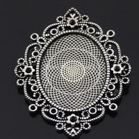 15pcs Antique Silver Pendant Trays,Vintage Style Oval Trays,Blanks Bezel Setting charm pendant