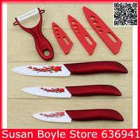 Brand Red Thicken Printing Flower Ceramic Knife Set Gift,Kitchen Knives 3''/4''/5'' + Peeler