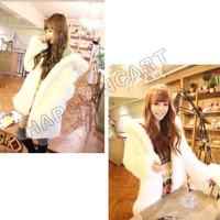 Casual Women Cute Girl Lady Winter Faux Plush Rabbit Fur Warm Coat Hooded Shaggy Outwear Hoody Jacket BYF457