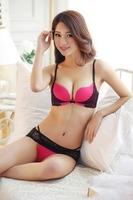 Women lace bra set girls underwear suit thicker underwear gather Korea Women bra set