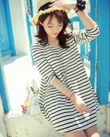 2014 New Fashion Sweet Cute Personaility Graceful Stylish Large Version Stripe Korean Ribbon Striped Dress White