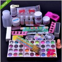 New Pro White Pink Clear Crystal Powder UV Extension Gel Nail Glitter Powder Crystal Nail Pen Set Tool Clean Brush Nail Tool Set