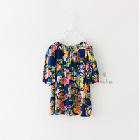 Girls Fashion Summer Floral T-Shirt New Casual Flower Harf Sleeve O-Neck Children High Quality Cotton Clothing 6pcs/LOT